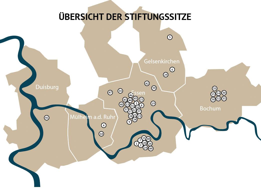 Abbildung der Karte Stiftungssitze des Stiftungsnetzwerks Ruhr